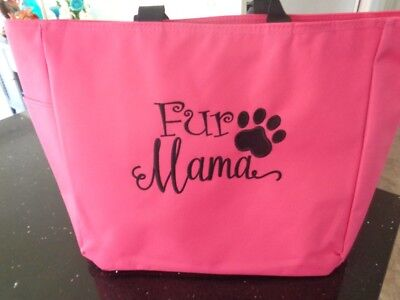1 Tote Bag FUR MAMA Gift dog cat family pet FRIEND VET CHRISTMAS ZIPPER ZIP (Friend Pets Tote Bag)