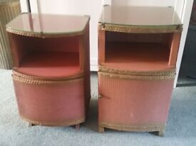 Two vintage 'Lloyd Loom' Style bedside bedroom cabinets.