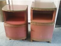 Two vintage 'Lloyd Loom' Style bedside bedroom cabinets.
