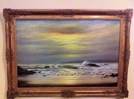 LARGE OIL PAINTING SEASCAPE BEACH WAVE STUDY Signed A Beardsley