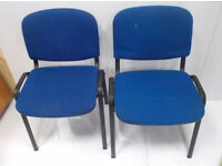 2 Blue Simular Office Chairs, Stackable