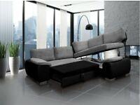Enzo sofa beds, available in leather and cord fabric. Avaialable Straight Away
