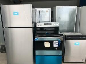 Super Combo Réfrigérateur, cuisinière et lave-vaisselle,Amana, Stainless, Vendu tel quel