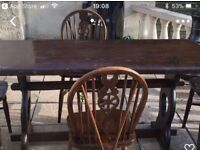 antique table and 6 chairs