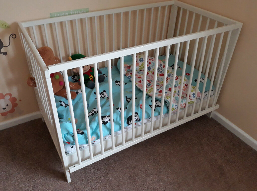 Ikea Gulliver White Cot Bed And Mattress Hardly Used Very