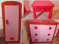 Girls pink/red wardobe, drawers and bedside cabinet