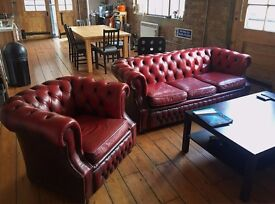 Vintage Leather Chesterfield 3 seater in Ox Blood Red with matching armchair