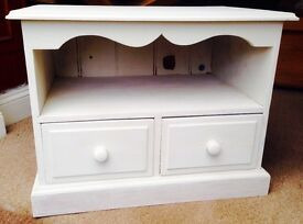 TV cabinet -White Annie Sloan chalk paint, waxed and finished