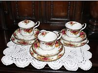 Set of 3 Vintage Royal Albert Old Country Roses Trio - Cup, Saucer, Tea plate