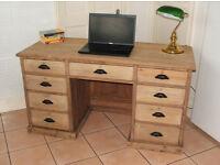 Solid Oak - Victorian Rustic Twin Pedestal Teachers Desk with 9 Drawers