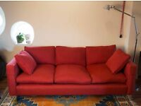 Stunning Large Red Fabric Sofa, Cost ££££, Selling for £140!