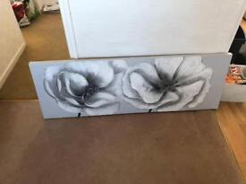 Pretty grey flower canvas picture