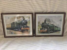 Pair of vintage framed train wall pictures