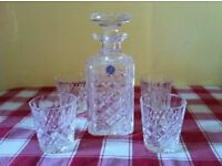 STUART CRYSTAL DECANTER WITH 4 MATCHING TUMBLERS ( IMMACULATE CONDITION )