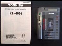 Toshiba KT-4056 Personal Stereo Radio Cassette Player equaliser c/w Instructions & belt clip
