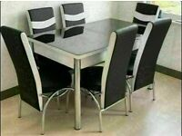 BRAND NEW EXTENDABLE GLASS DINING TABLE SETS WITH 4 AND 6 CHAIR OPTIONS