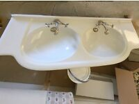 Double Ceramic Sink Unit with Taps and Waist