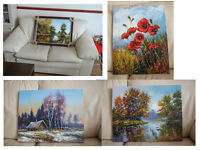 Oil paintings @ oil on canvas with thick layer @ landscapes , poppy