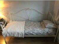 Vintage metal frame, single bed.