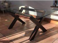 Glass Top Table on Wood Trestle Base 180 cm x 90 cm