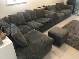 Left Hand Corner Sofa Chaise with 2 Seater Sofa and matching Footstool