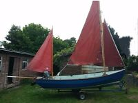 18' Drascombe Lugger with engine and road trailer