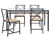 Glass dining table with matching chairs in black