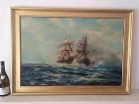 Large Vintage Oil Painting Seascape Signed Graham Hedges