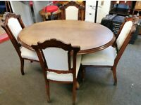 Antique Breakfast Table & 4 Matching Chairs