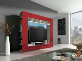Brand New! FREE DELIVERY WALL UNIT IN HIGH GLOSS&LED in red colour