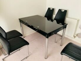 Black and Silver Gloss Glass Dining Table Set & 6 Black Faux Leather Chairs Seater