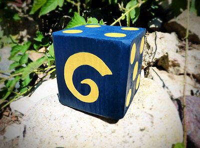 1 Jumbo L.A. RAMS Lawn Yard Wood DICE Blue Gold Yahtzee,Bunco,Farkle,Home Decor