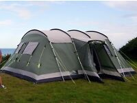 Outwell Montana 6 family tent plus 2 double air beds and wind screen
