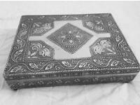 Set of two ornate metal jewellery boxes