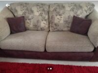 Brown/Beige 3 and 2 seater sofas - Excellent Condition - Collection Only