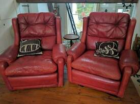 VINTAGE RED LEATHER ARMCHAIRS