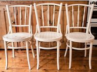 3 White Massive Wooden Strong Classic Chairs