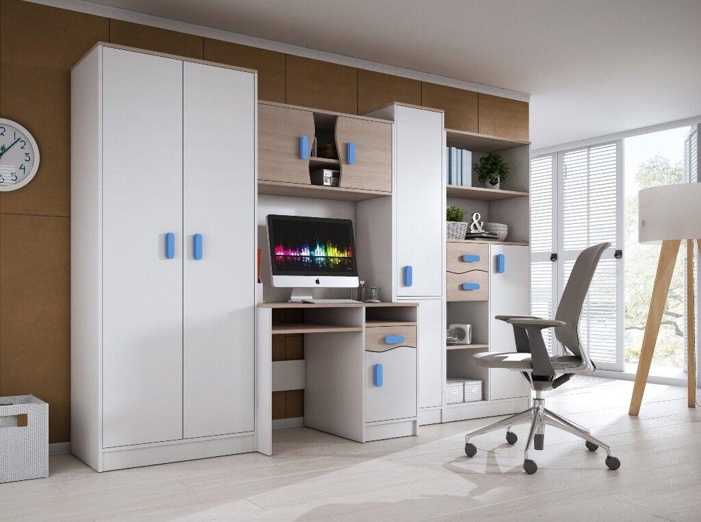 New Furniture Set L Wardrobe Computer Desk Cupboard Shelves Drawers Ideal For Kids