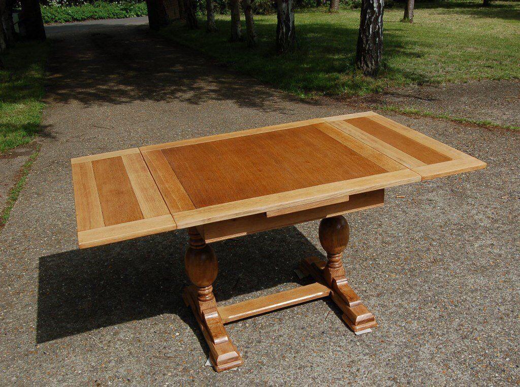 ANTIQUE OAK EXTENDING 2 LEAF TABLE REFECTORY EXTENDABLE ...