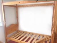 REDUCED single four poster bed frame with free extra slacks
