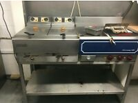 twin deep fat fryer and flat plate with stand