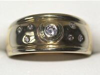 STUNNING 9CT SOLID GOLD RETRO MEN'S DIAMOND RING SIZE M FULLY HALLMARKED MADE IN ENGLAND WORK OF ART