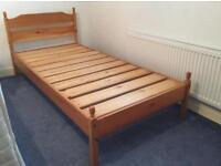 2 pine single beds. 6.6 x 3ft. Free mattresses. Collect Stamford Bridge