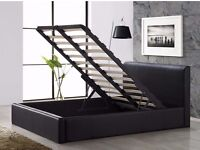 black king size Furniture Faux Leather Storage Ottoman Gas Lift Bed Frame