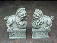 Foo Dogs ( Chinese Dragons ) cast stoneware garden ornament