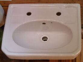 Iflo Herita 500 x 400 mm White Wash hand basin with Pedestal - 2 Tapholes