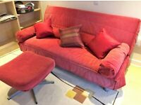 Ikea Beddinge Sofabed, as new with high quality, firm mattress, red cover, with matching footstool