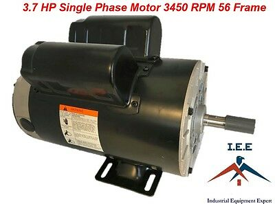 3.7 Hp 3450 Rpm Single Phase Spl 56 Frame 230v 17.2amp 58 Shaft Nema Motor