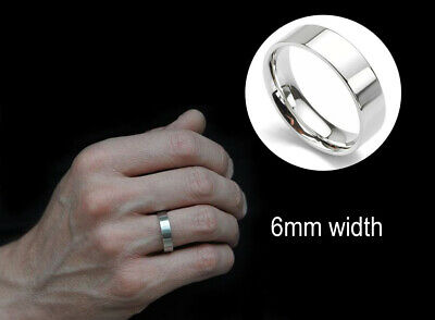 Men's: 18 Carat White Gold Plated, 6mm, Flat Edged, Solid, Polished Wedding (Mens 18 Carat White Gold Wedding Rings)