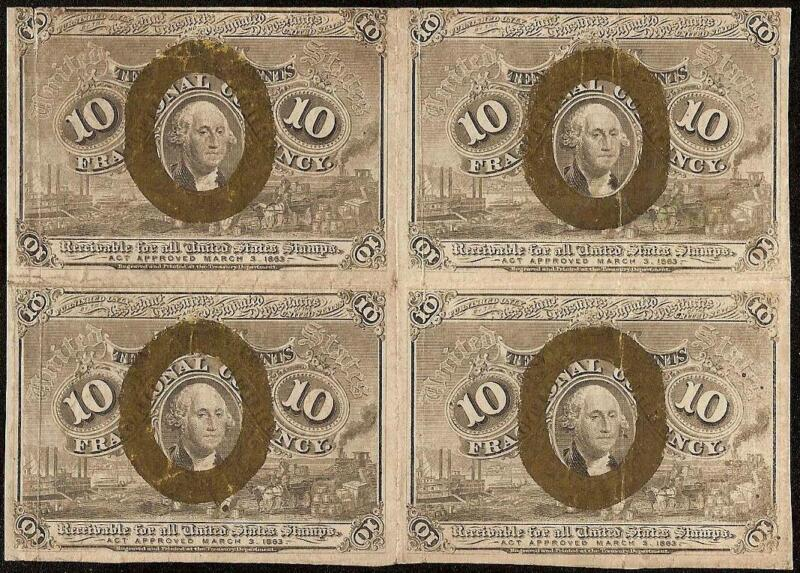 10 CENT BLOCK OF 4 FRACTIONAL POSTAGE CURRENCY OLD PAPER MONEY NOTE Fr 1245